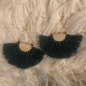 Green fringe / tassel earrings